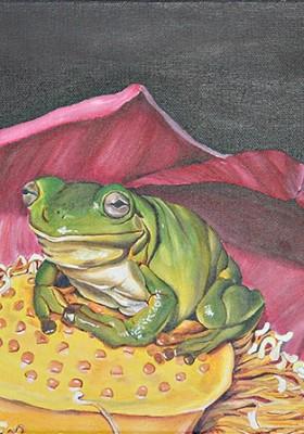 Frosch in Blüte